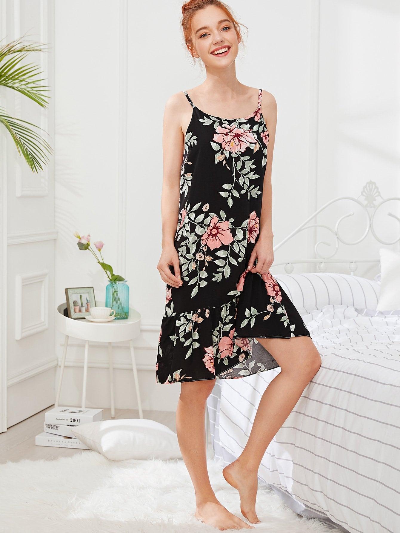 Floral Print Ruffle Hem Cami Dress hanky hem floral print cami tank top