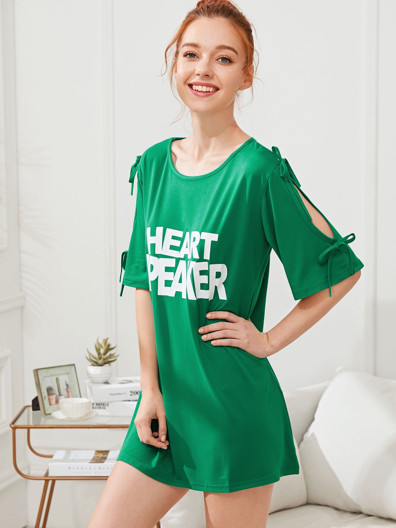 Letter Print Split Sleeve Dress letter print split sleeve dress