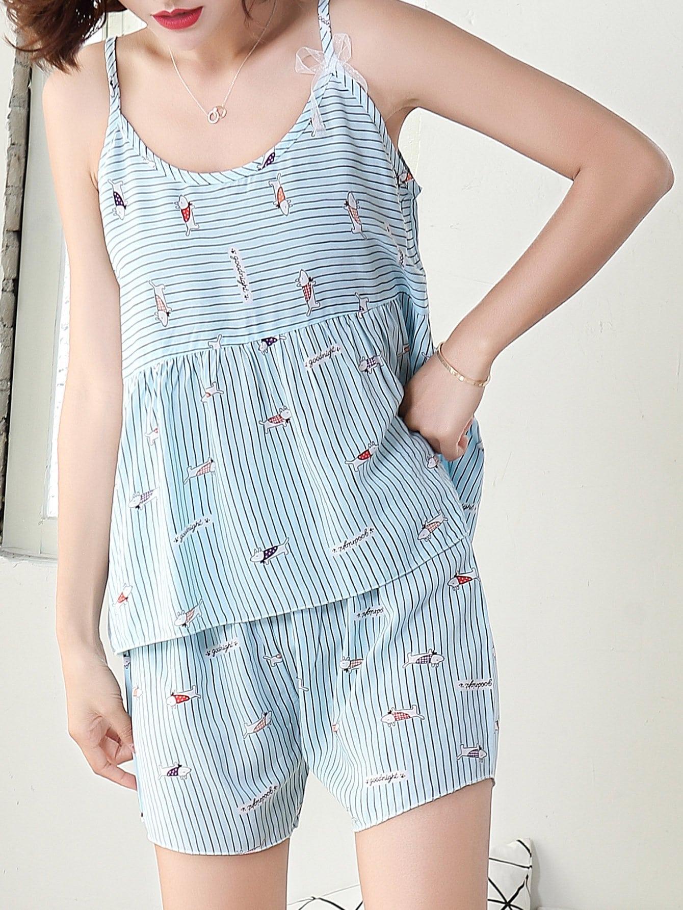 Dog Print Striped Cami Top & Shorts PJ Set dog print top