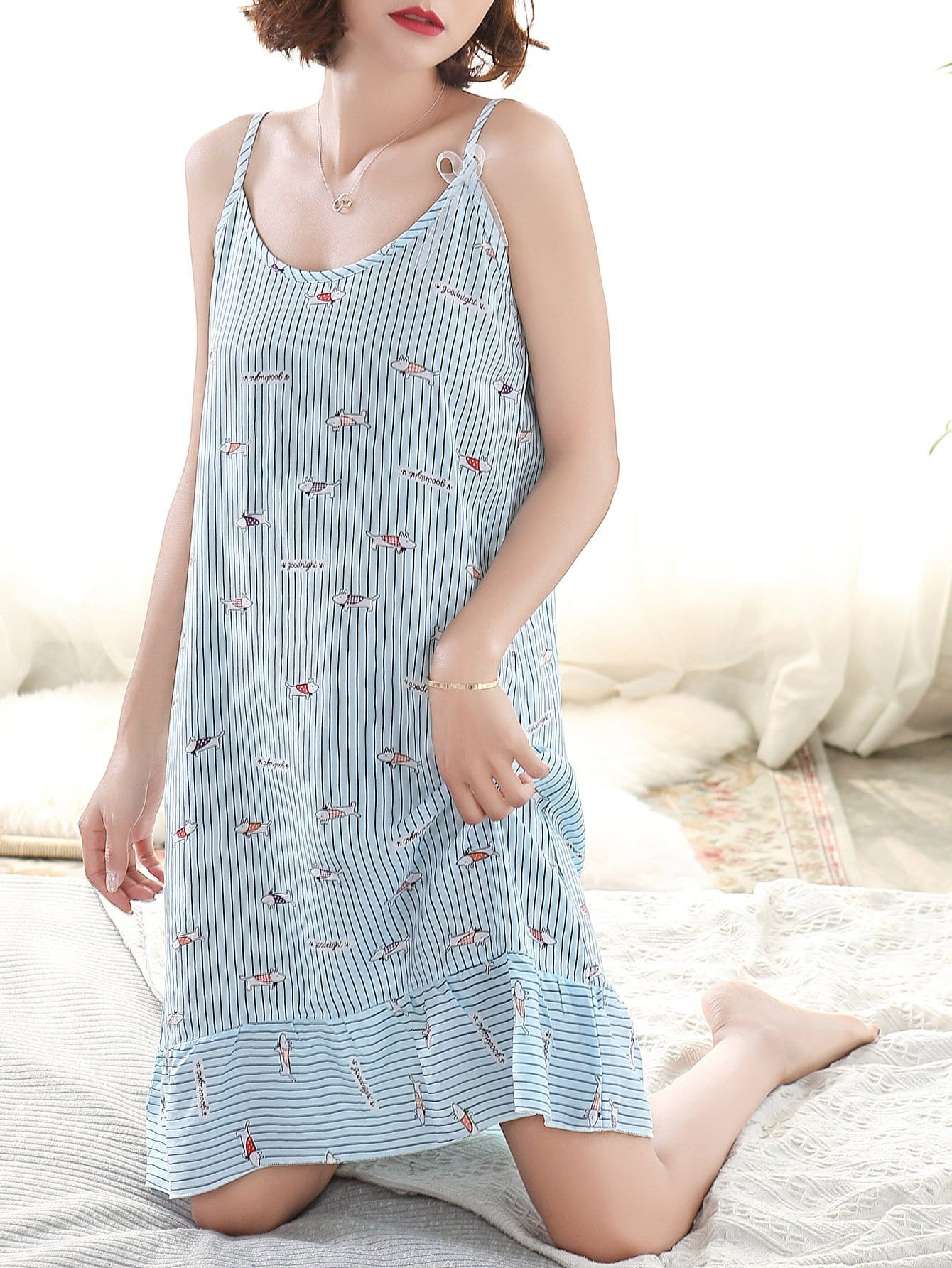 Dog Print Ruffle Hem Striped Cami Dress dog print ruffle hem night dress