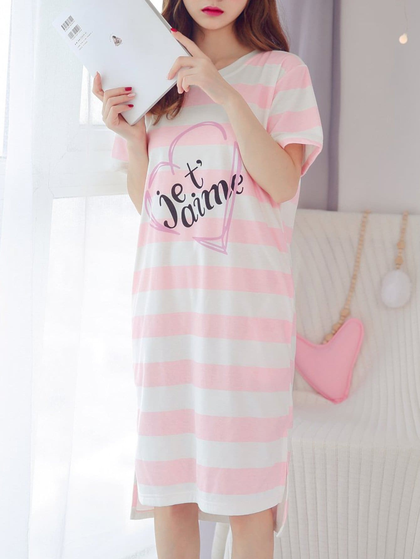 Letter Print Striped Dress letter print neck and cuff striped dress