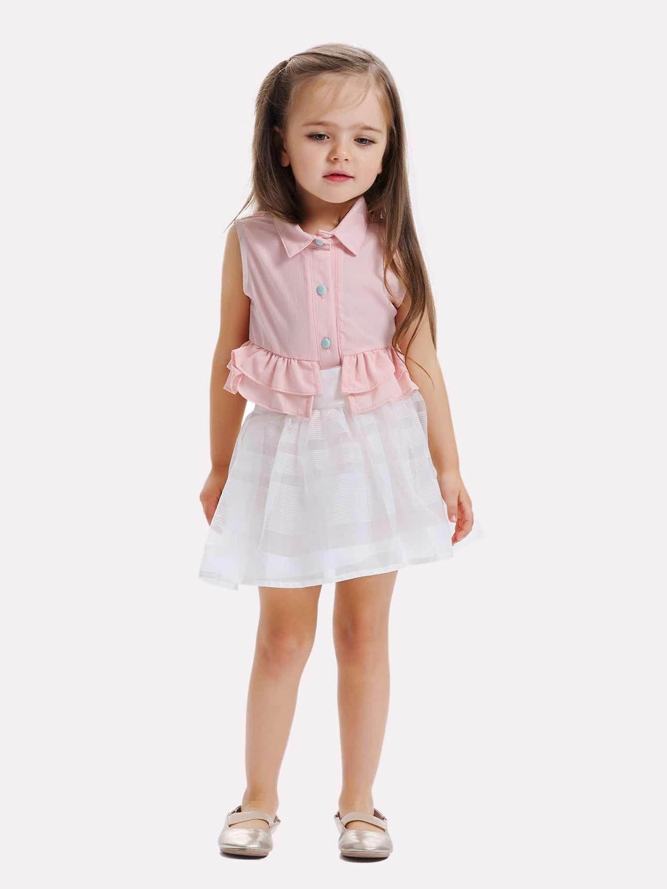 Девочки Многоуровневое Рябить Рубашка Отделка