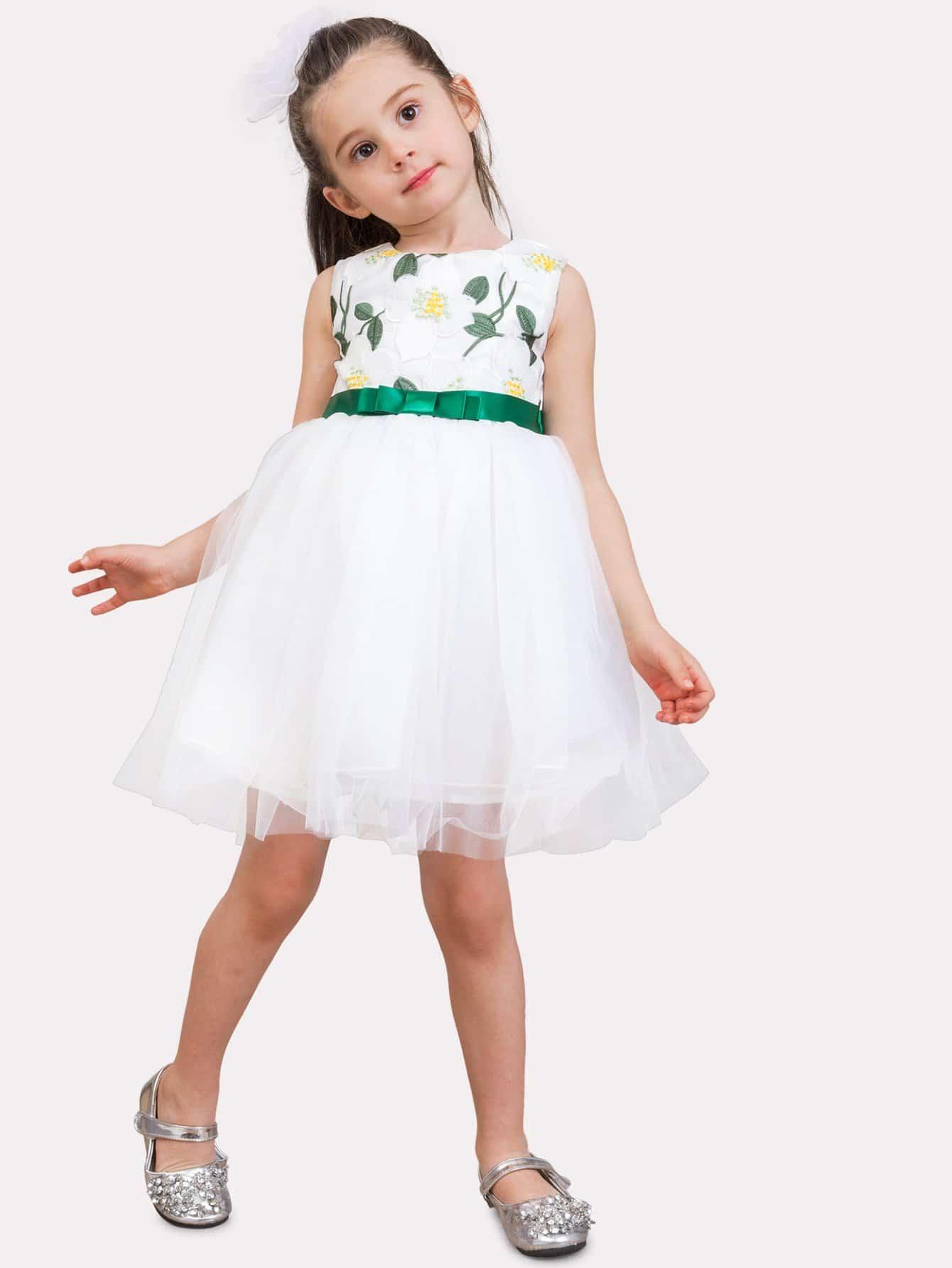 Цветок Девочки Узел Сетки Девушка Платье Вышивки