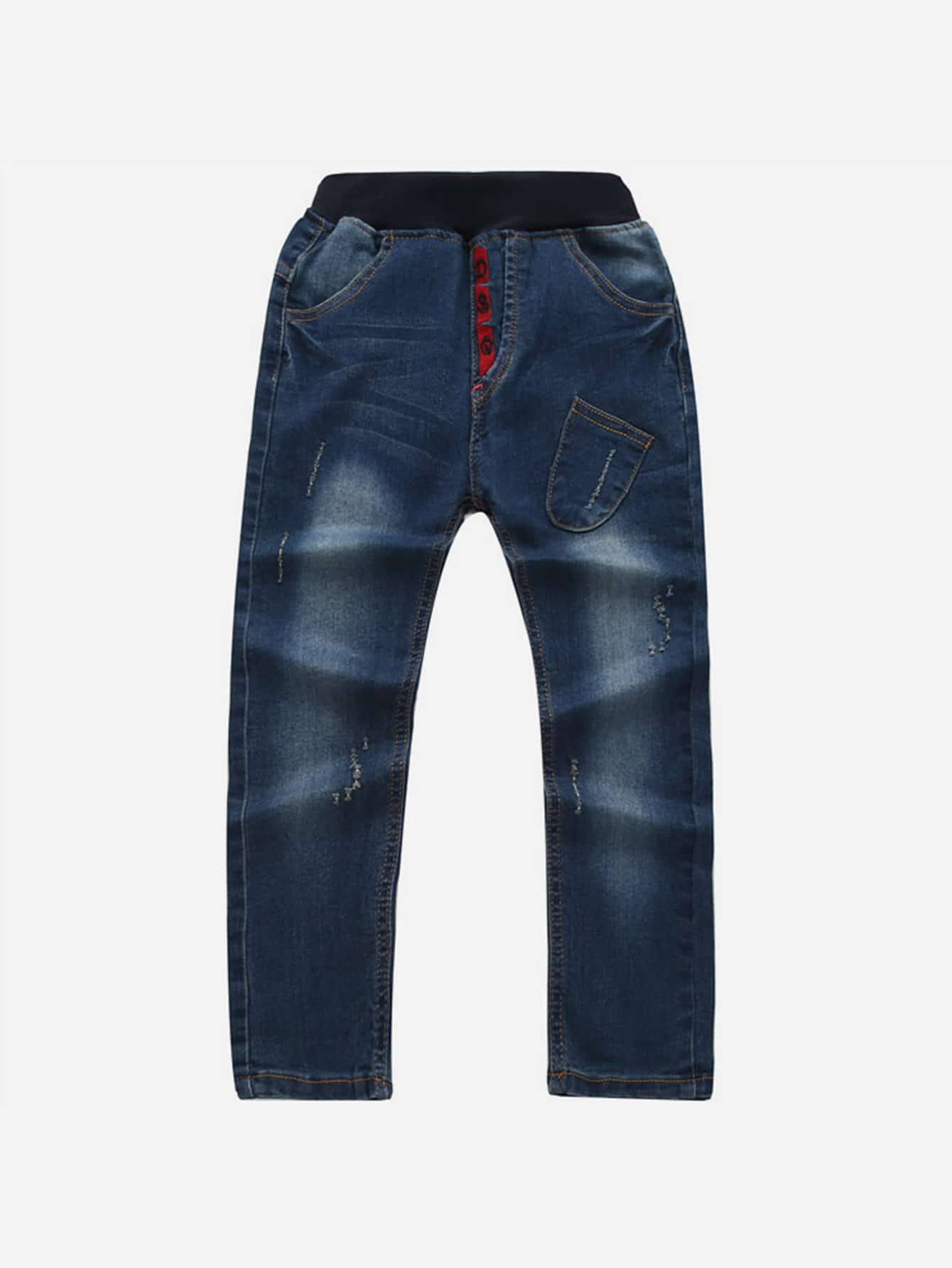 Patched Embroidered Jeans emoji embroidered jeans