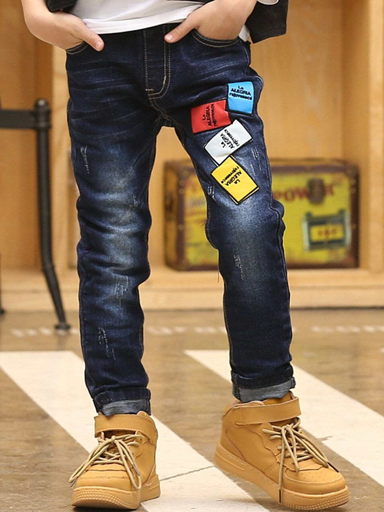 Multicolor Patched Detail Jeans patched embroidered jeans