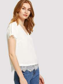 Lace Trim Tunic Top