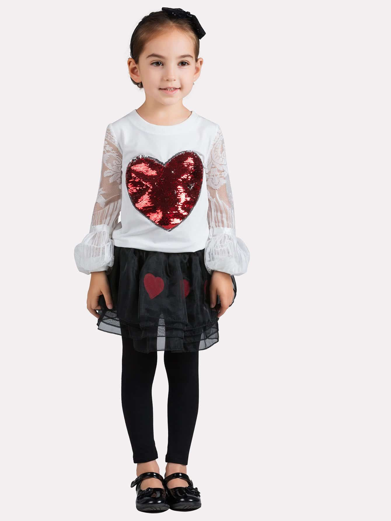 Girls Heart Sequin Contrast Lace Sleeve Tee