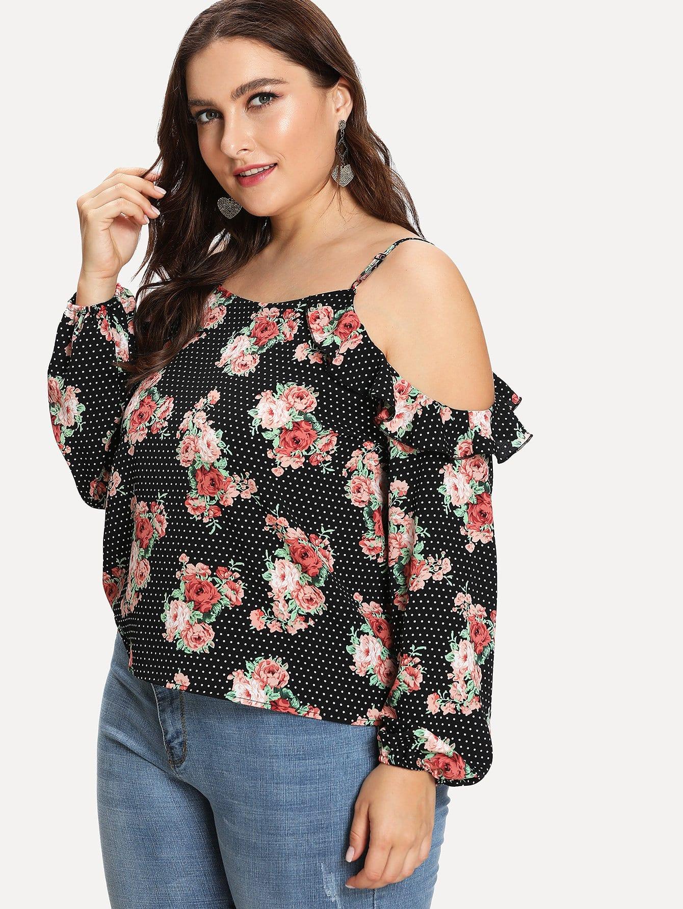 Ruffle Cold Shoulder Floral & Polka Dot Top box pleated ruffle cold shoulder top