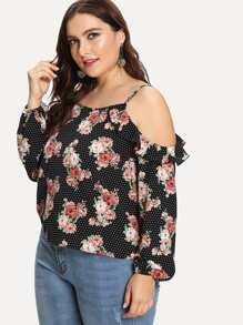 Ruffle Cold Shoulder Floral & Polka Dot Top