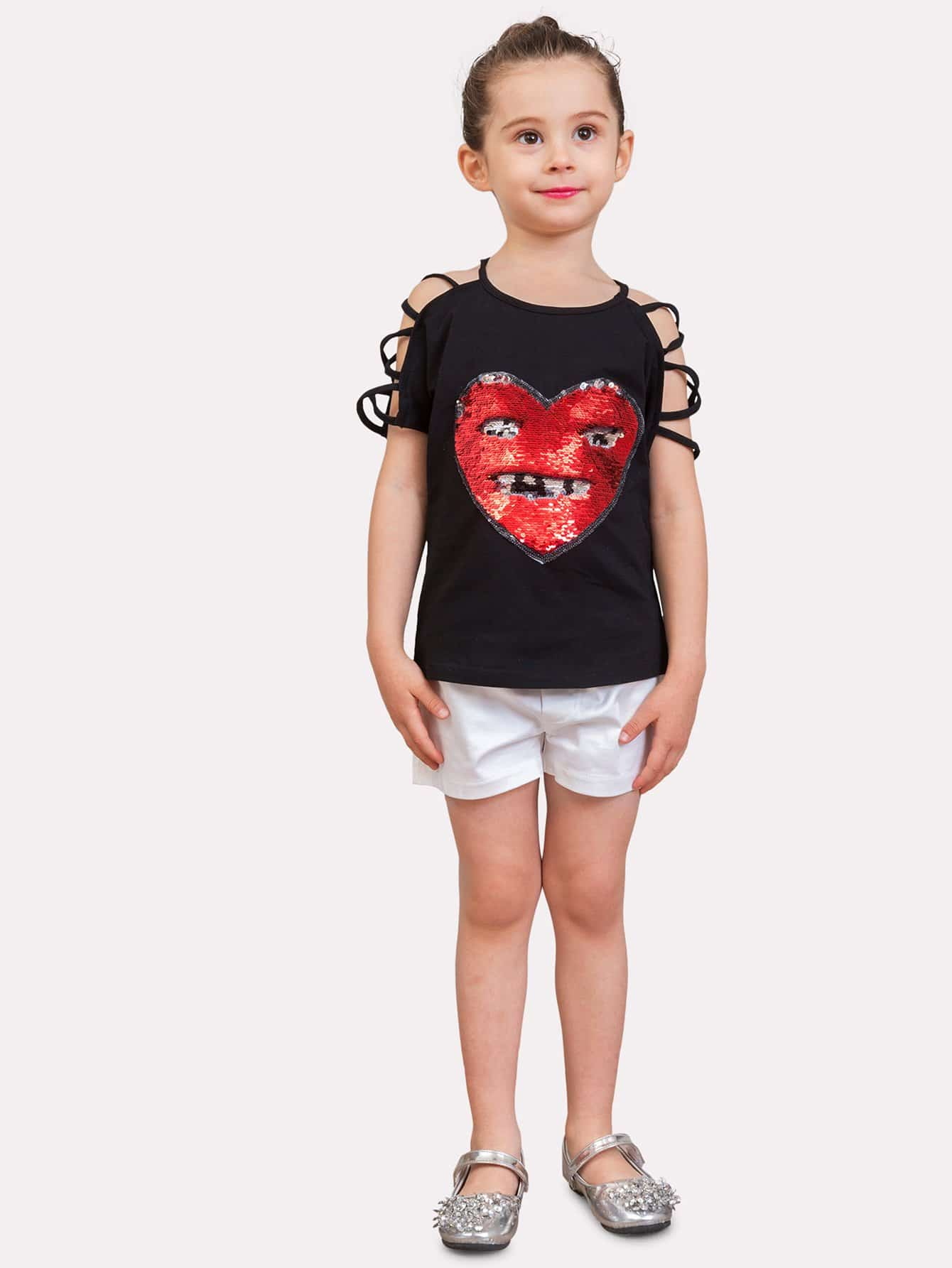 все цены на Girls Strappy Detail Heart Sequin Tee
