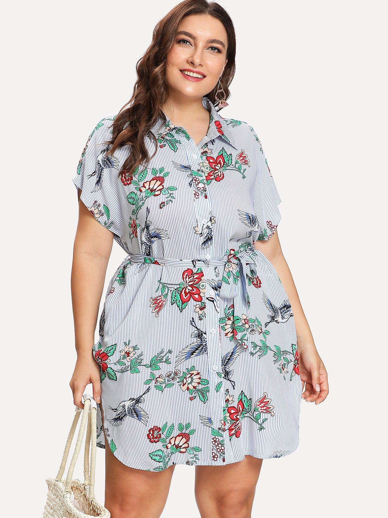 Купить Платье рубашка с принтом микс, Franziska, SheIn