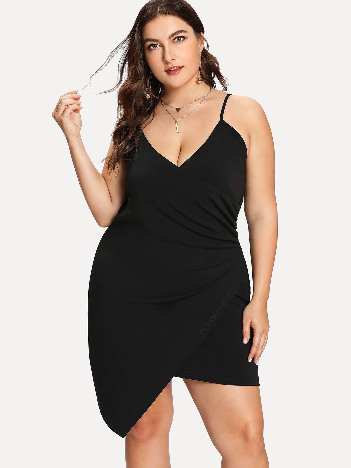 Plus Ruched Overlap Cami Dress ruched overlap cami dress
