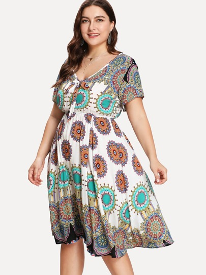 Geo Print Knot Front Mandala Dress