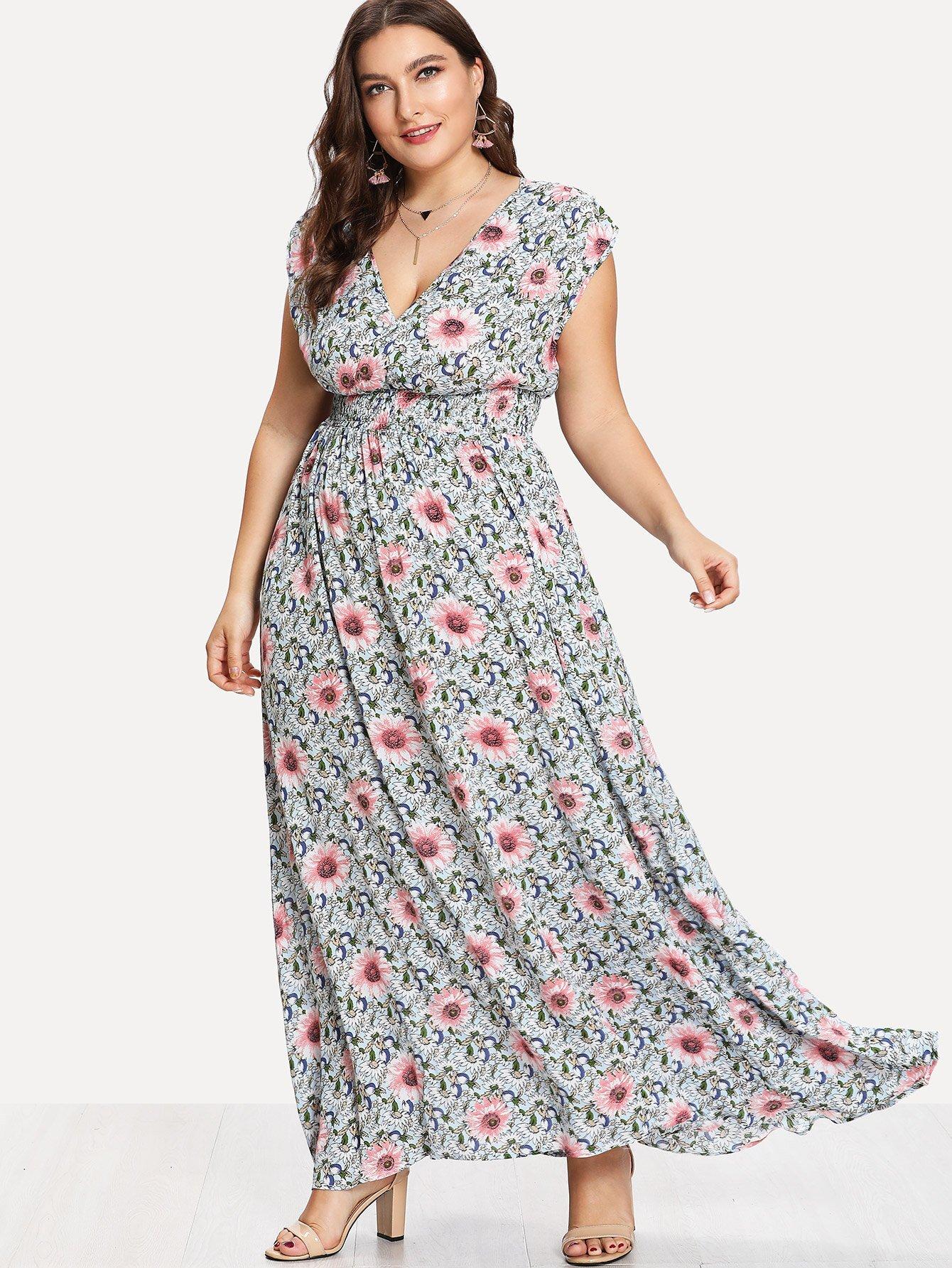 Wrap Front Shirred Waist Floral Dress shirred waist zip back fit