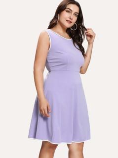 Contrast Trim Fit & Flare Dress