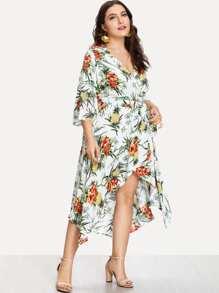 Tropical Print Surplice Wrap Dress