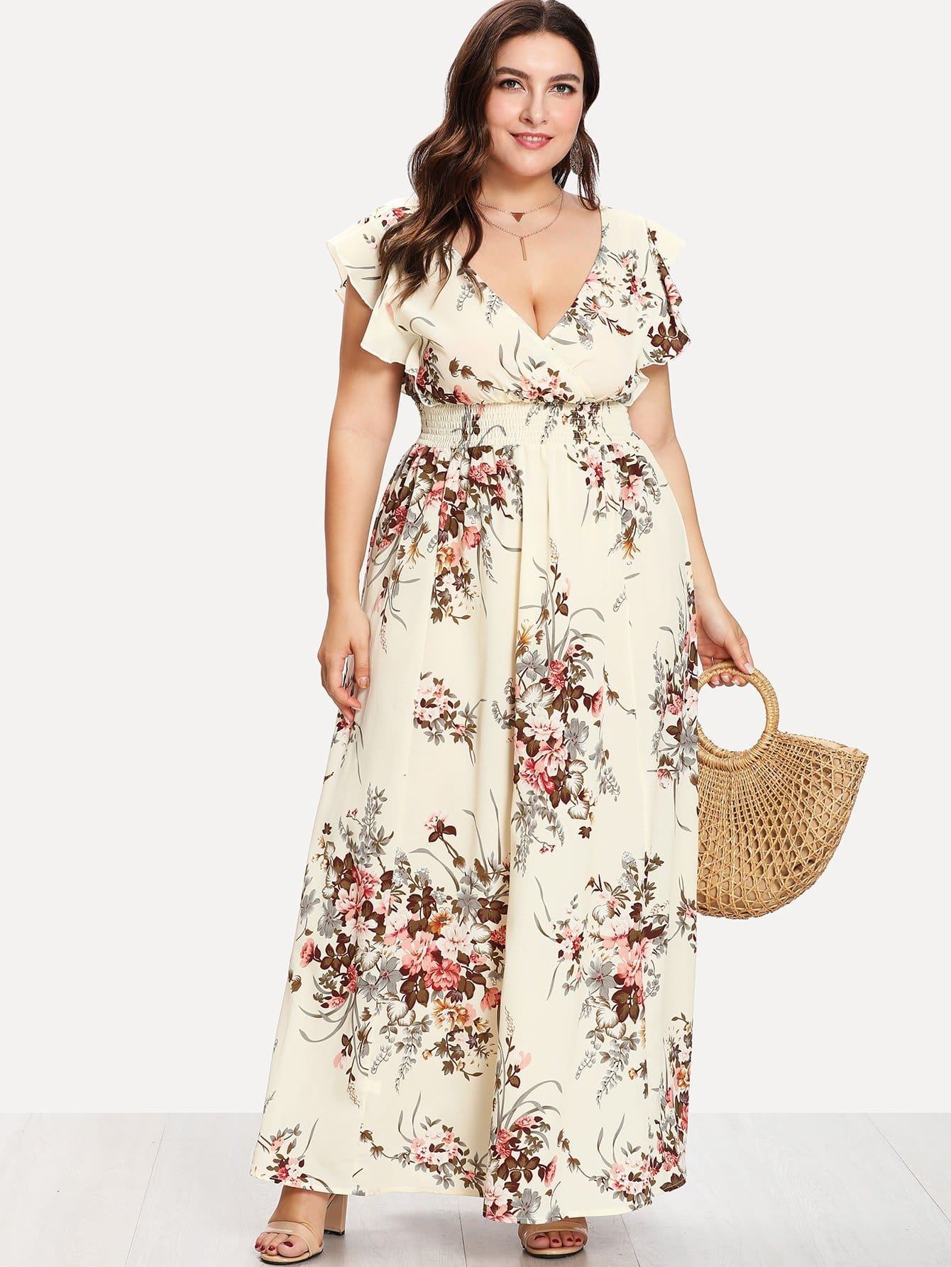 Flounce Trim Shirred Waist Floral Dress bohemian off the shoulder floral shirred flounce maxi dress for women