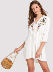 Flower Embroidered Shirt Dress