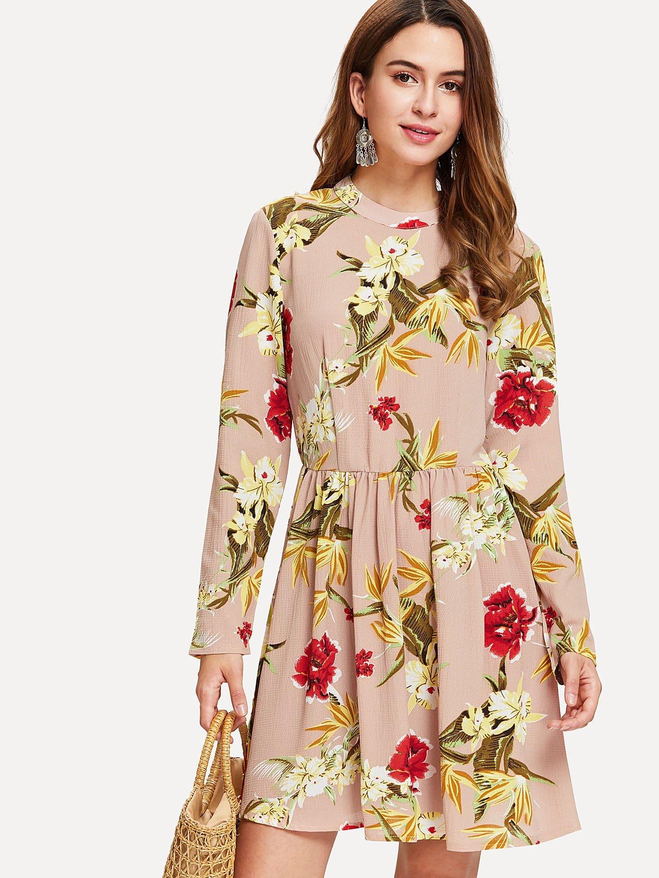 Flower Print Smock Dress corduroy babydoll smock dress