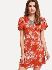 Tulip Sleeve Floral Wrap Dress