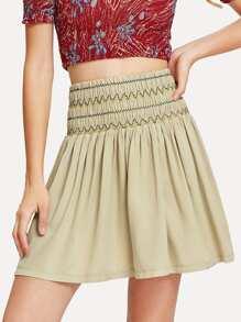 Wide Waist Flared Skirt
