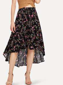 Floral Print Asymmetrical Hem Skirt