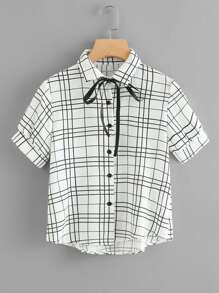 Checked Tie Neck Shirt
