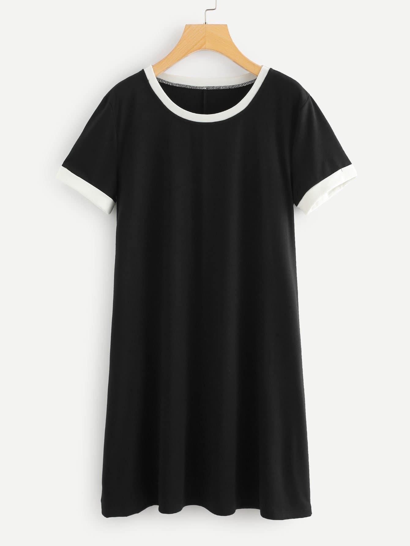 Contrast Trim Tee Dress striped contrast trim drop shoulder tee dress