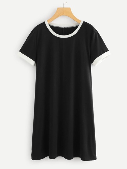 Tee Dress Contrast Trim