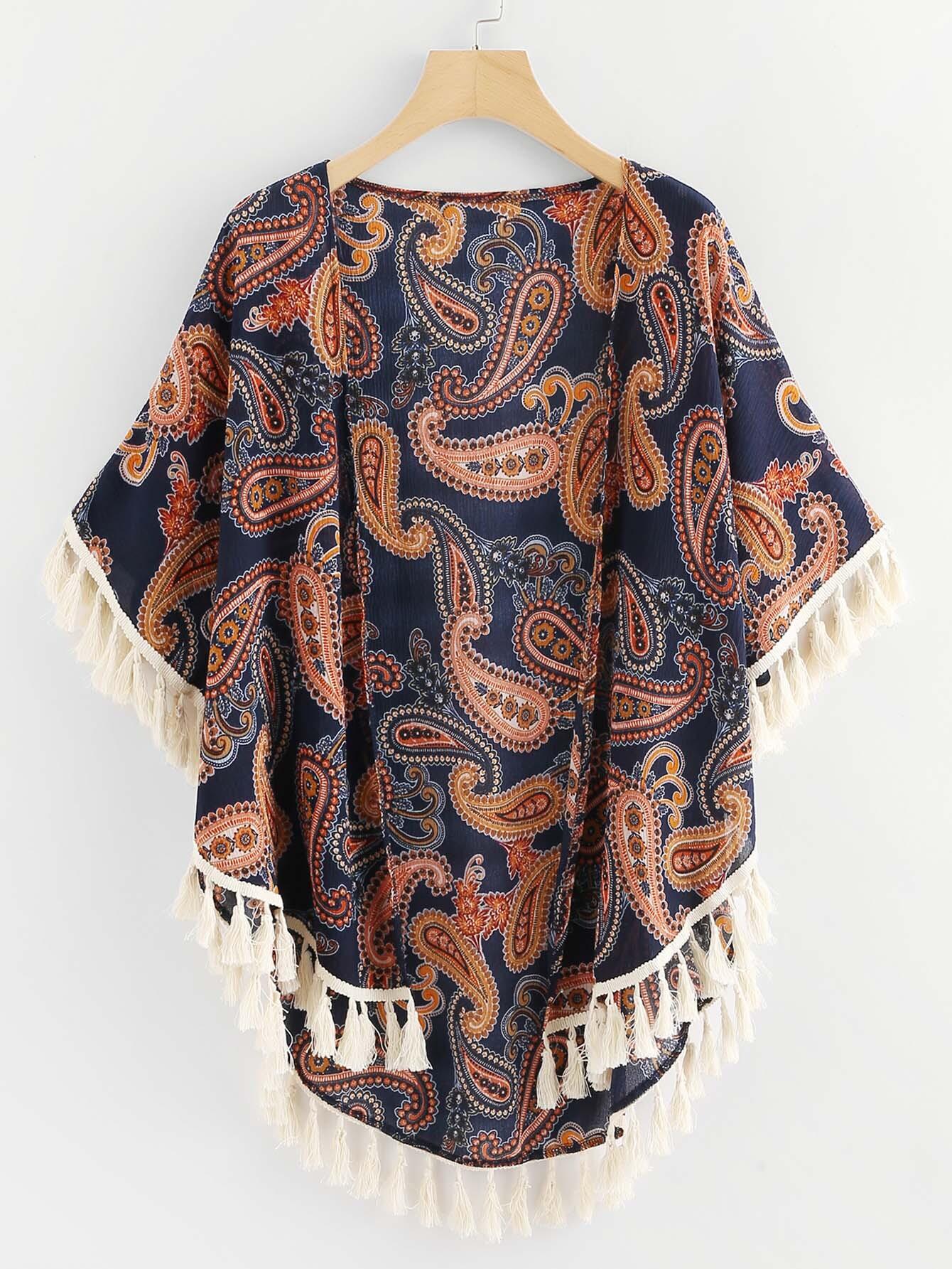 Paisley Print Fringe Trim Kimono paisley print fringe trim kimono