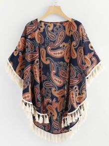 Paisley Print Fringe Trim Kimono