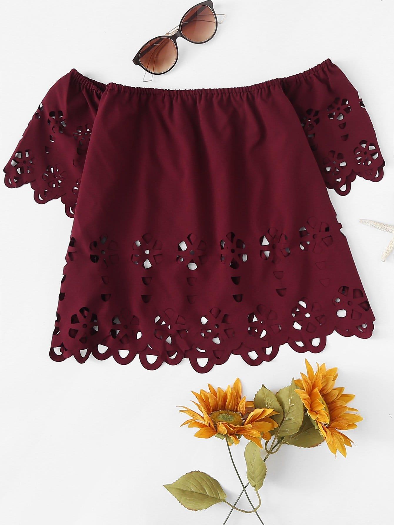 Купить Повседневный Одноцветный с разрезом Бордовый Блузы+рубашки, null, SheIn