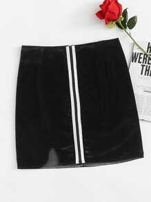 Striped Tape Cut Out Hem Skirt