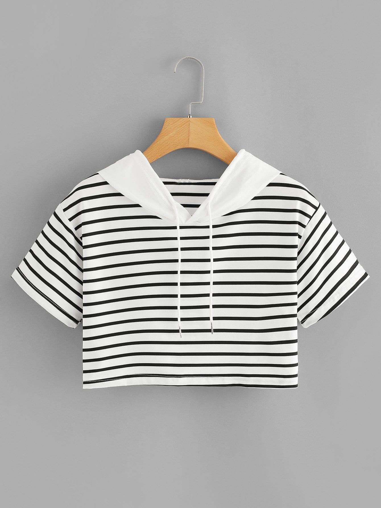 Striped Contrast Hooded Crop Tee