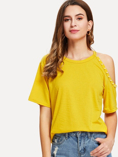 Pearl Beaded Cut Out Shoulder Tee