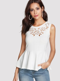 Laser Cut Sleeveless Peplum Top