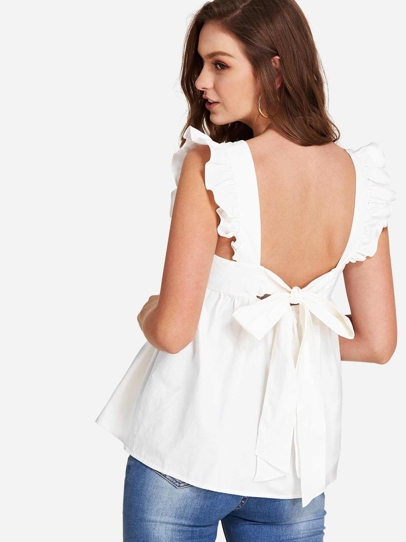 Ruffle Trim Bow Tie Backless Smock Top exaggerate bow tie neck ruffle trim top