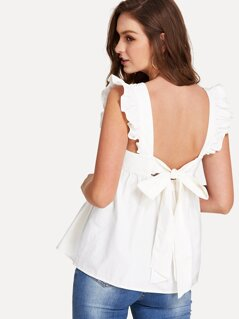 Ruffle Trim Bow Tie Backless Smock Top