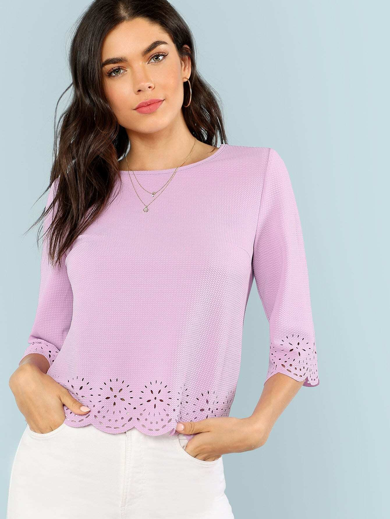 Scallop Laser Cut Textured Blouse scallop laser cut textured blouse