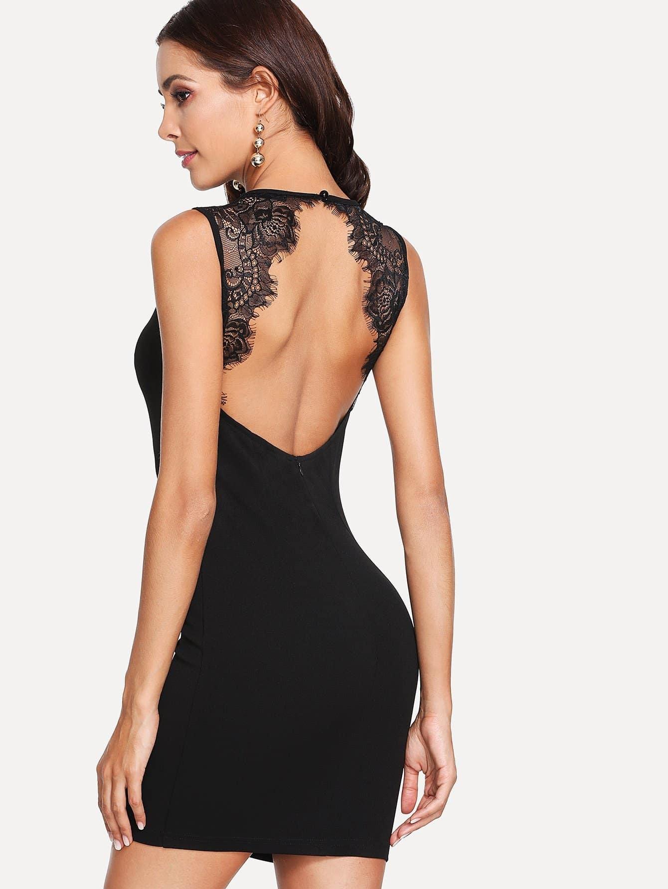 Open Back Scallop Eyelash Lace Trim Dress crisscross open back scallop trim bodysuit