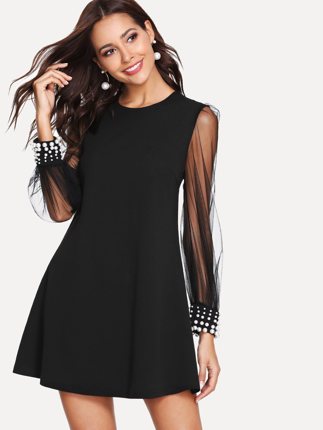 Pearl Detail Mesh Sleeve Tunic Dress v notch pearl leaf chain detail fluted sleeve dress
