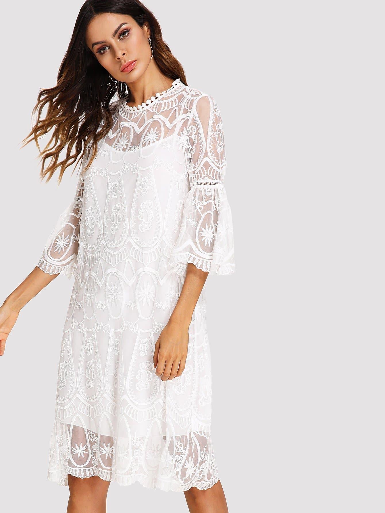 Trumpet Sleeve Embroidered Mesh Dress mesh panel sleeve dress