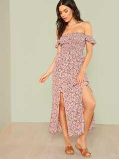 Off Shoulder Slit Hem Shirred Floral Dress