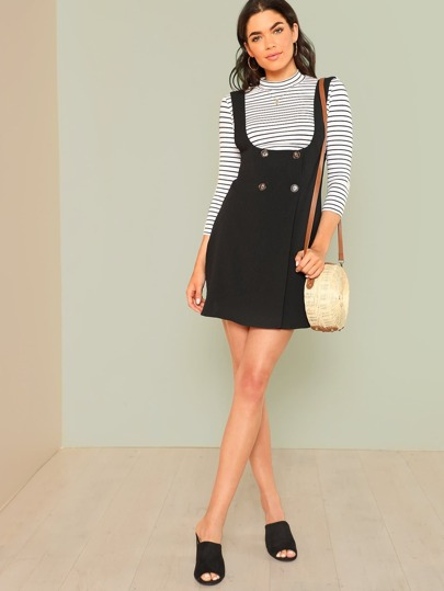 Button Detail Solid Pinafore Dress