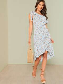 Knot Asymmetric Shoulder Ditsy Floral Wrap Dress