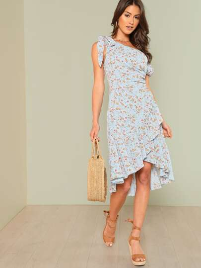 Knot Asymmetric Shoulder Ditsy Wrap Dress