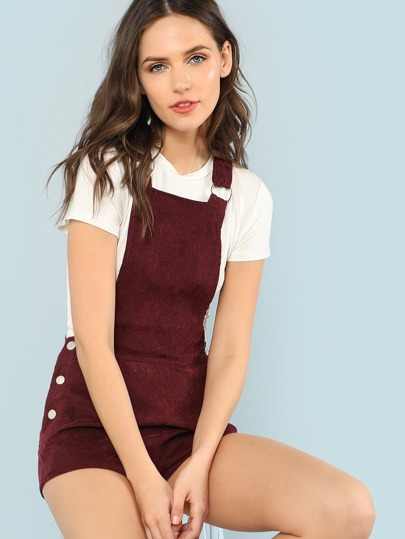 Button Side Pinafore Romper