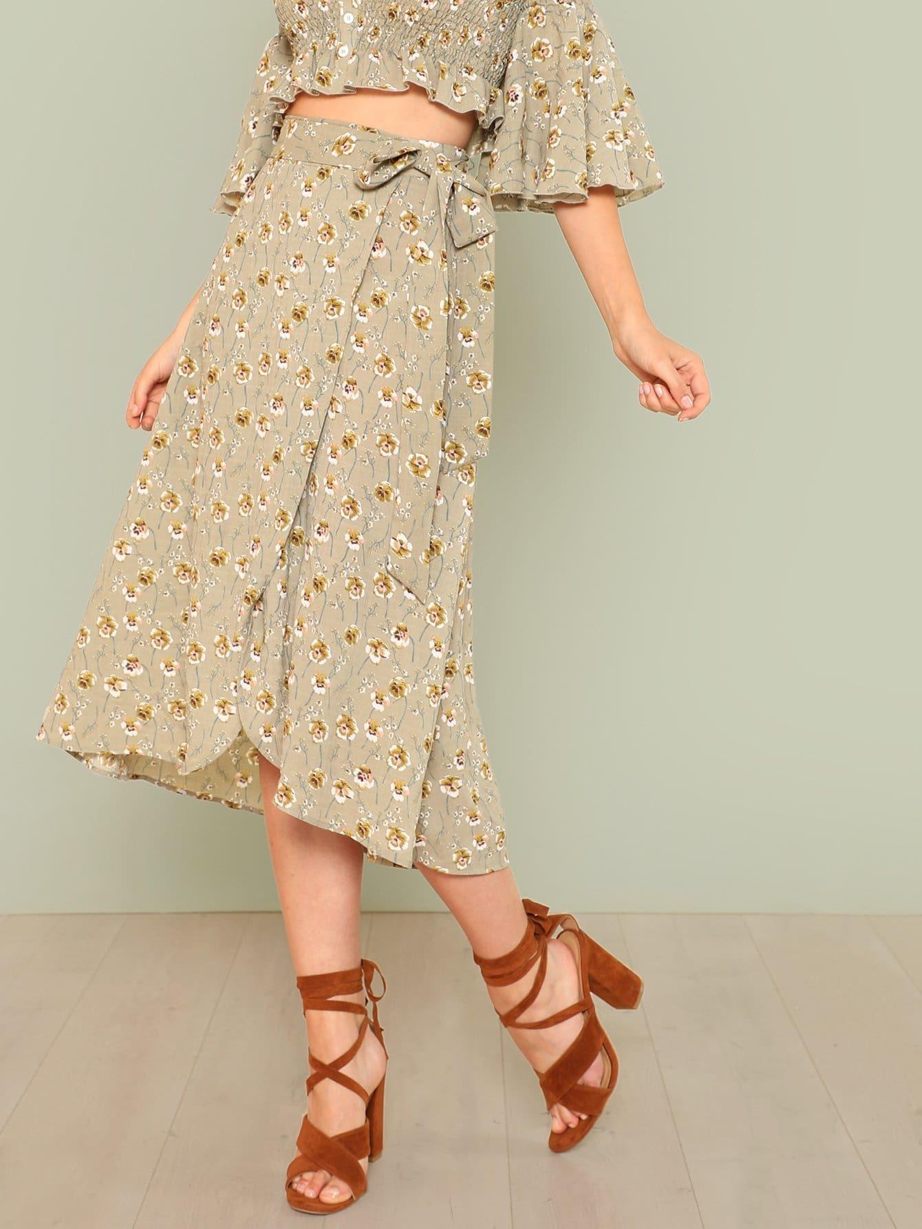 Tie Waist Asymmetrical Hem Floral Skirt bohemian high waist floral print skirt for women