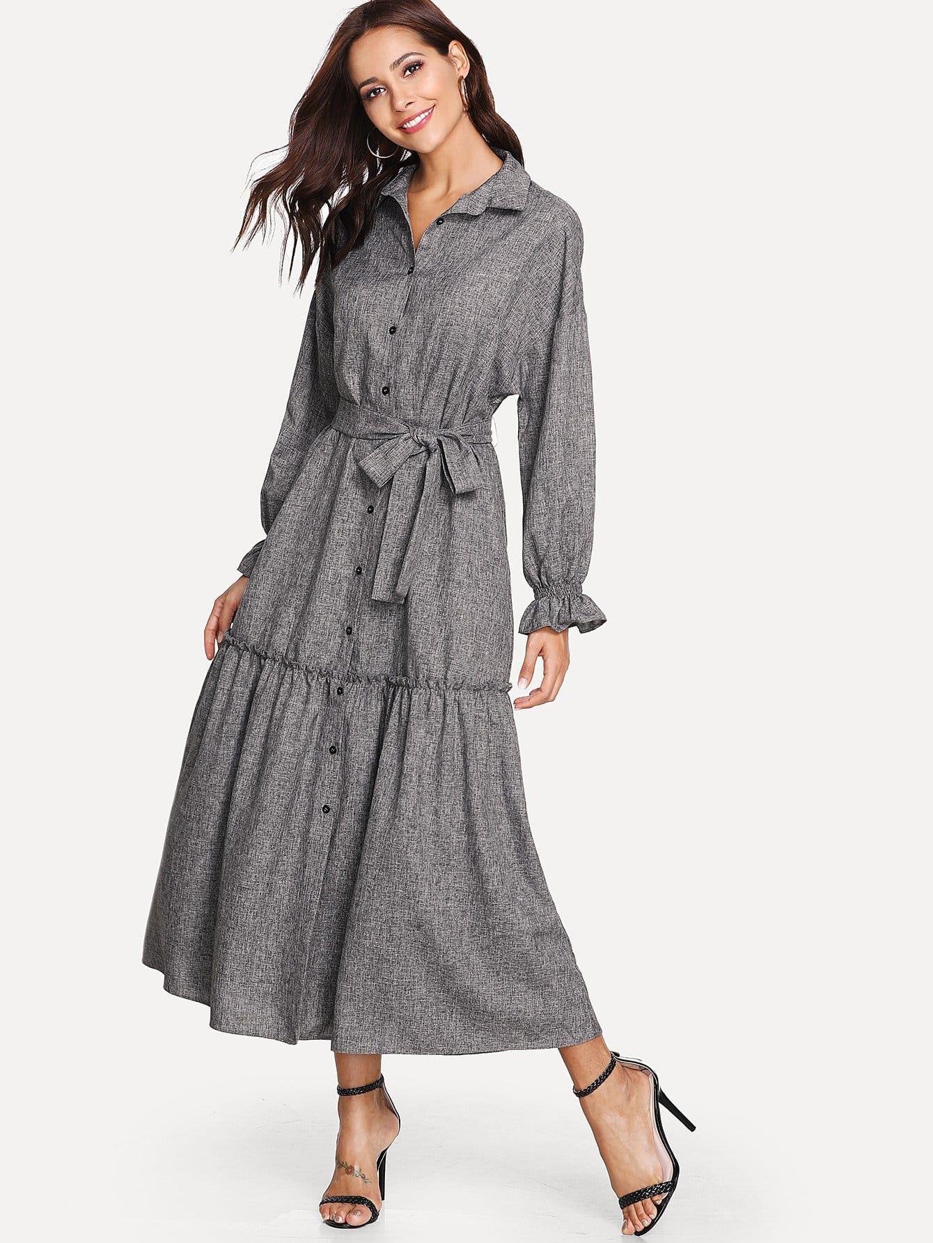 Flounce Sleeve Tie Waist Pocket Side Shirt Dress batwing sleeve pocket side curved hem textured dress