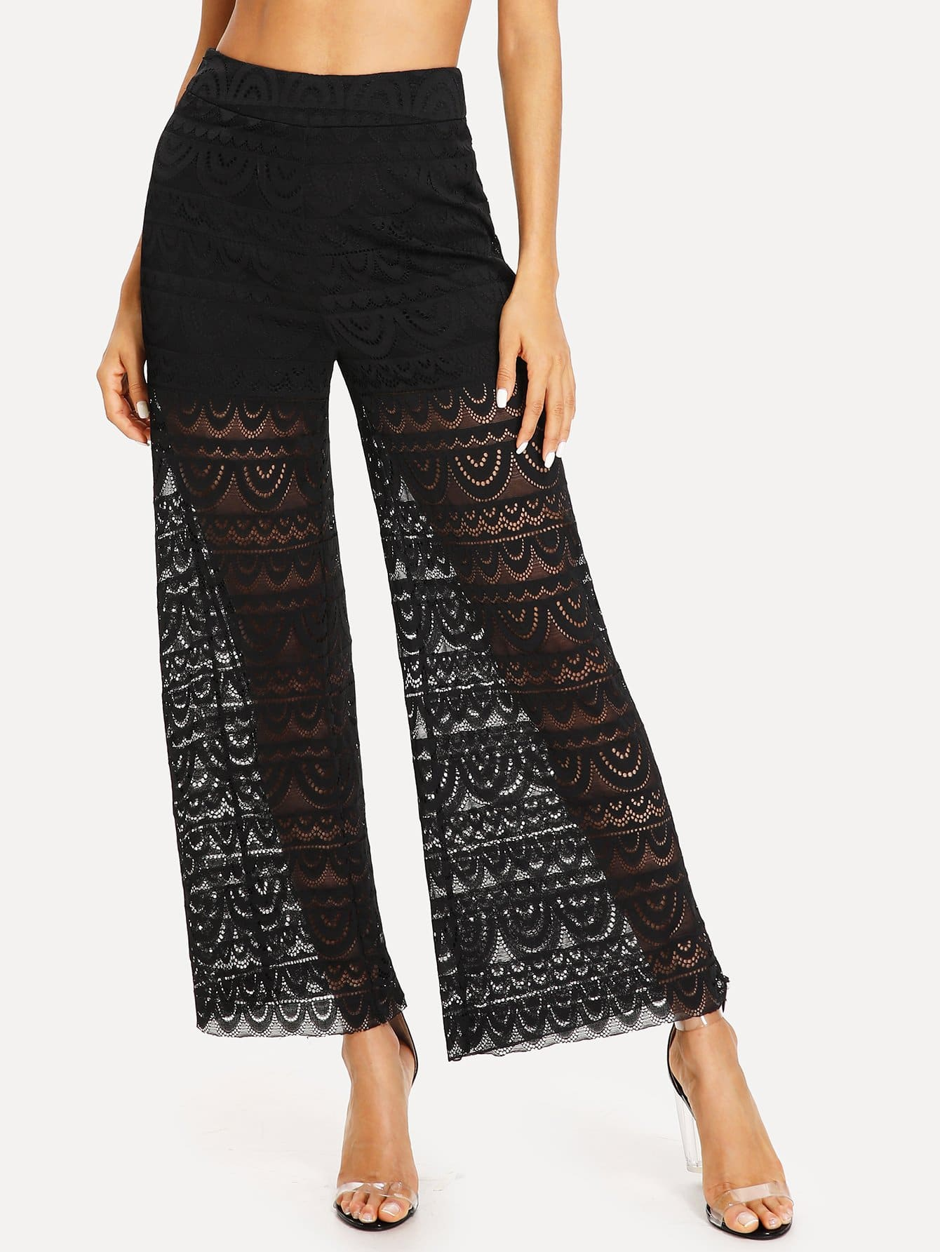 цены See Through Wide Leg Lace Pants